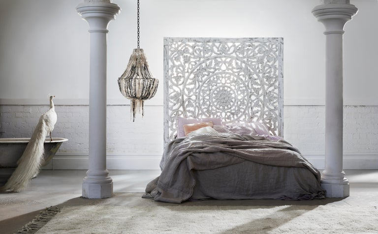 This one of a kind, utterly unique and magnificent macrame clay bead chandelier is a collaboration between klaylife and Australian artisan Elena from Three Queens Interiors.   Elena's signature, intricate and creamy macramé work has been