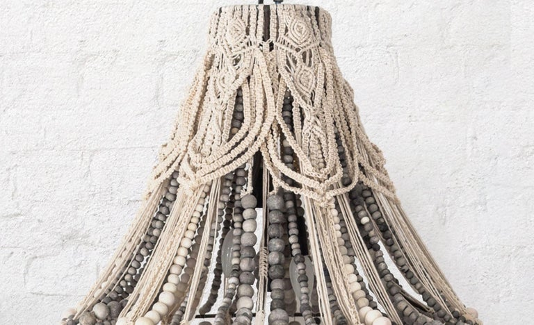 South African Klaylife Handmade Clay Beaded Macrame Chandelier or Hanging Light, 21st Century For Sale