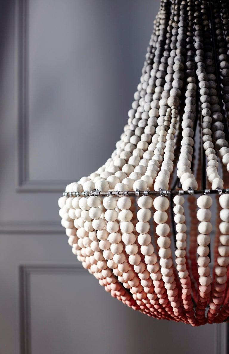 Klaylife, Rosa Ombre-Färbung, großer handgefertigter Tonperlen-Kronleuchter LIM 4