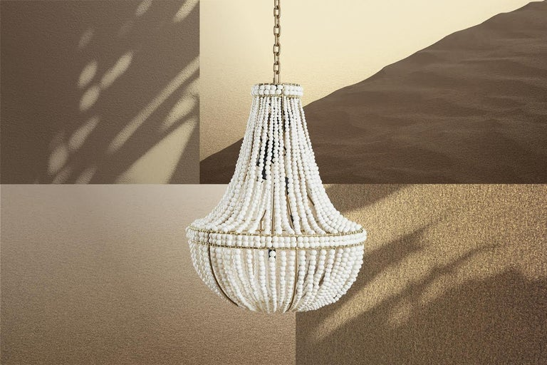 The klaylife sash is a handmade, modern chandelier with a Classic style with the added detail of a top band and belly band that accentuates the line and length of the clay beaded chandelier. The sash is one of our most popular chandeliers and is a