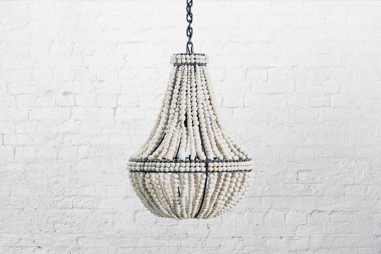 South African Klaylife Sash, Large, Grey Handmade Clay Beaded Chandelier/Hanging Light,  For Sale