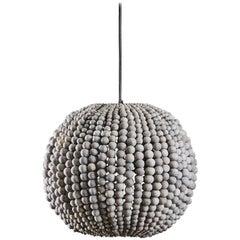 Klaylife Sphere, Grey Handmade Clay Beaded Pendant Light, 21st Century