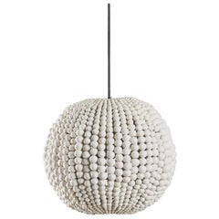 Klaylife Sphere, White Handmade Clay Beaded Pendant Light, 21st Century
