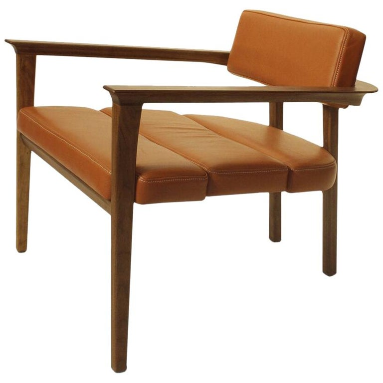 Klee Walnut Armchair with Leather Seat For Sale