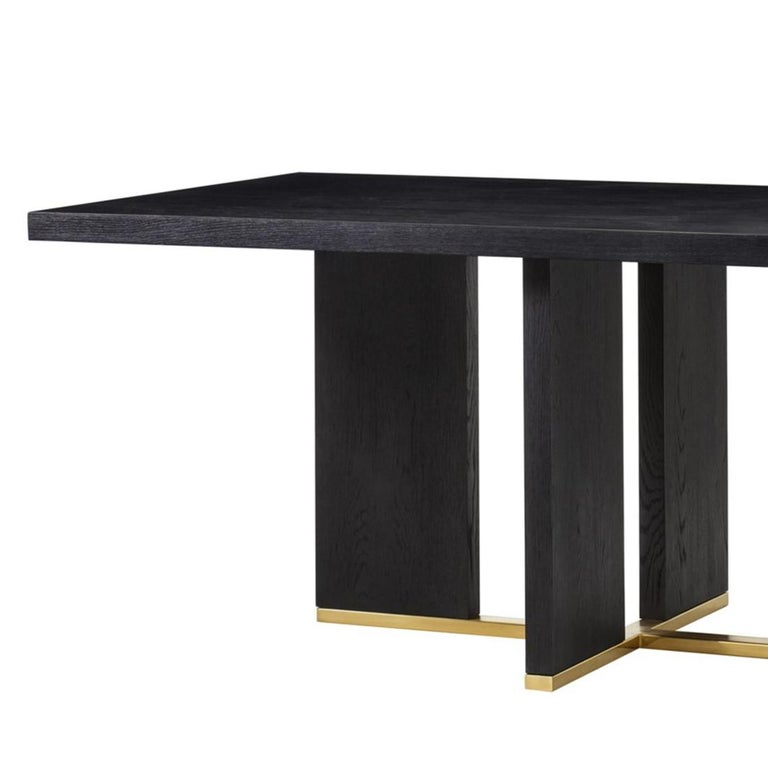 Blackened Klein Dining Table in Solid Poplar Wood For Sale