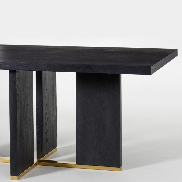 Stainless Steel Klein Dining Table in Solid Poplar Wood For Sale