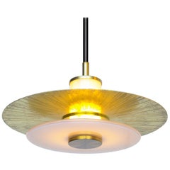 "11"" Klein Pendant w/ Milk Glass, Etched & Polished Shade & Satin Brass details."