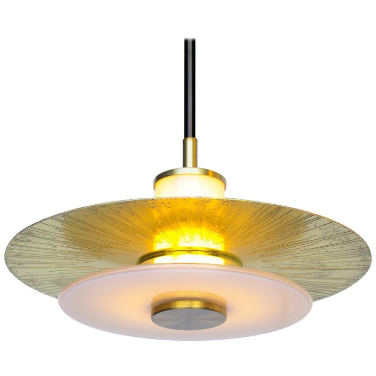 Klein Pendant with Milk Glass and Etched, Etched and Polished and Satin Brass.  For Sale
