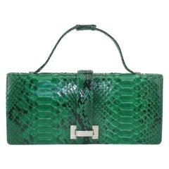 Kleinberg Sherrill Green Snakeskin Clutch Handbag