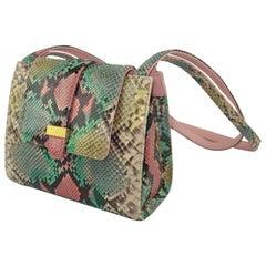 Kleinberg Sherrill Multi Color Python Snakeskin Handbag