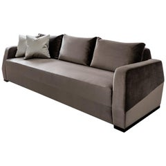 Klippen Modern Contemporary Sofa Holly Hunt Velvet with Espresso Brown Oak Feet