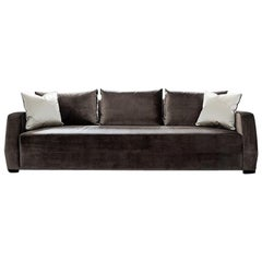 Klippen Sofa in Holly Hunt Dark Taupe Velvet with Espresso Brown Oak Feet