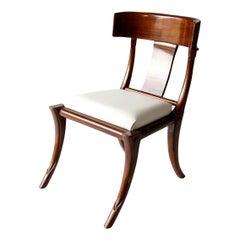 Klismos Chair, Italian Walnut, Medium Brown Stain and Shellak Polish Finish