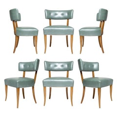 Klismos Green Leather Dining Chairs in the Style of Robsjohn Gibbings, Set of 6