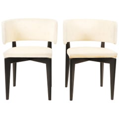 Klismos Pair of Mid-Century Modern Black Lacquered Dining Chairs