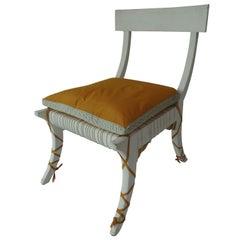 Klismos-Style Chair with Cushion