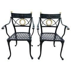 Klismos Style Heavy Aluminum Garden Chairs, Pair