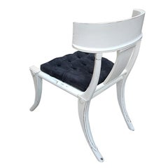 Klismos Customizable Saber Legs Chairs, White Shabby Look, other colors possible