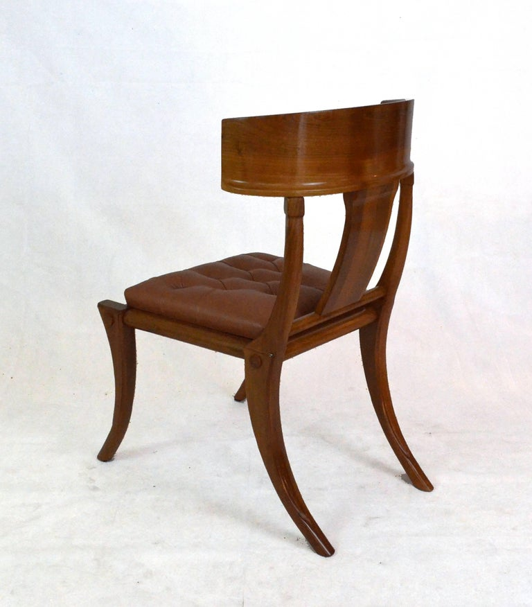 Greek Revival Klismos Walnut Wood Customizable Dining Chairs Italian Production For Sale