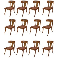 Klismos Walnut Wood Customizable Dining Chairs Italian Production