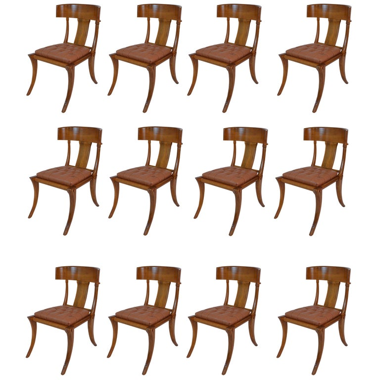 Klismos Walnut Wood Customizable Dining Chairs Italian Production For Sale