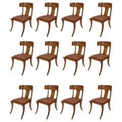 Klismos Walnut Wood Leather Seats Saber Legs Dining Chairs, Customizable