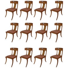 Klismos Walnut Wood Leather Seats Saber Legs Dining Chairs, Customizable