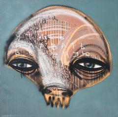Klone, street monster, acrylic on canvas, street art