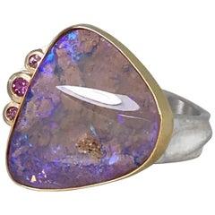 K.Mita Coloradas Ring, Pink Boulder Opal, Pink Sapphires, 18 Karat Gold, Silver