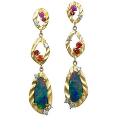 Opal and Multi-Color Sapphire and Diamond 18K Yellow Gold Long Dangle Earrings