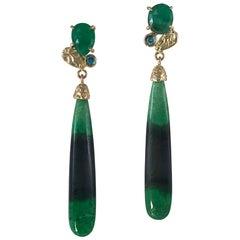 14 Karat Gold Green Garnet Bi-color Drop Earrings with Emeralds and Blue Diamond