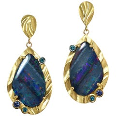 K.Mita Earrings, Opal Doublets, Blue Diamonds, Blue Sapphires, 18 Karat Gold