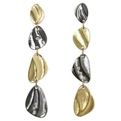 Two Tone 14 Karat Gold and Oxidized Silver Diamond Pebble Shape Dangle Earrings