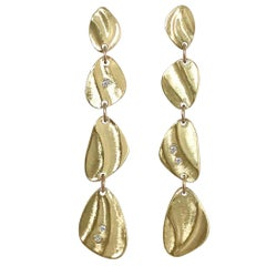K.Mita's Contemporary Pebble Dangle Earrings, 18 Karat Yellow Gold, Diamonds