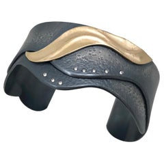 K.Mita's Cuff, 14 Karat Yellow Gold and Oxidized Sterling Silver, Diamonds