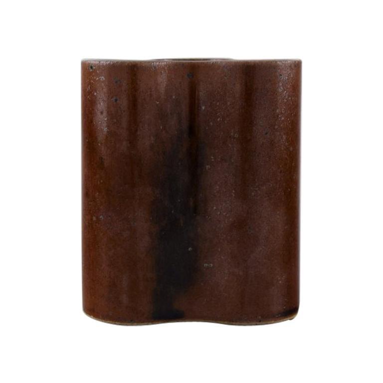Knabstrup Ateliér Cubist Ceramic Vase with Glaze in Brown Shades.,1970s