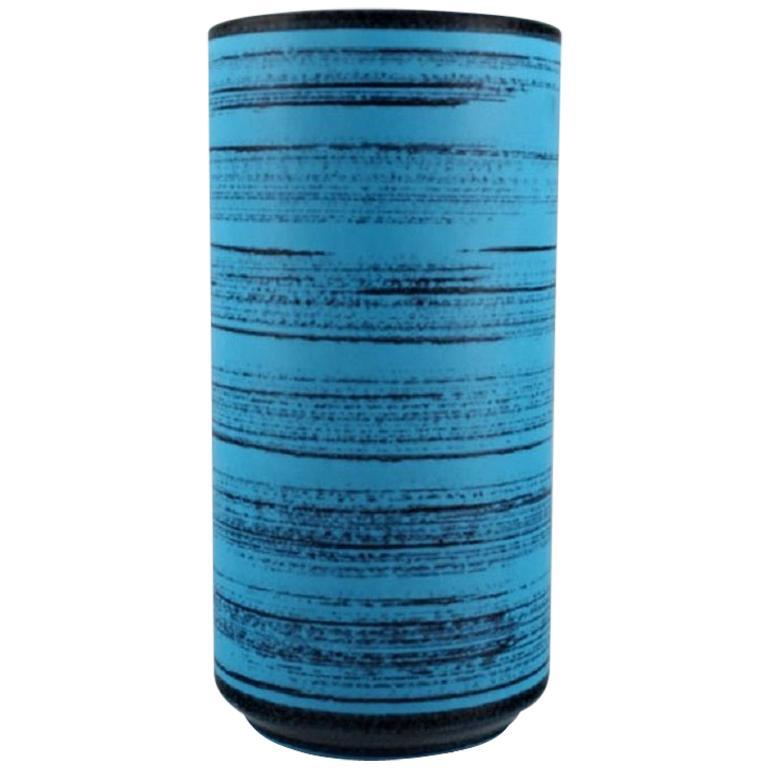 Knabstrup Ceramic Vase with Glaze in Shades of Blue, 1960s