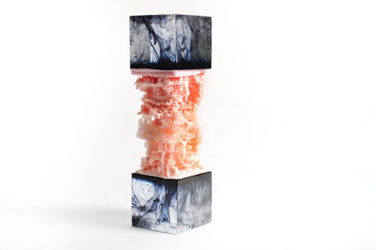 A collaboration between Studio Orfeo Quagliata and Tony Wurman of Wunderwurks Design.     An unprecedented marriage of Orfeo's spectacular glass work, an obsessive process created by boiling high quality recycled crystal with color to create vibrant