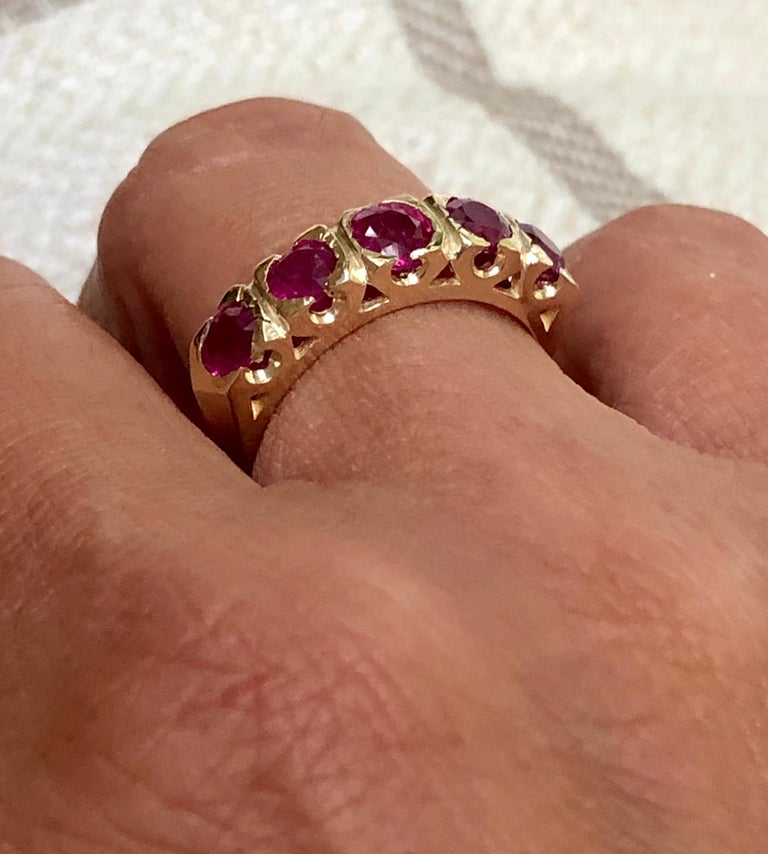 Knife Edge 1.90 Carat Ruby Fishtail Mounting Anniversary Five Stone Ring For Sale 5
