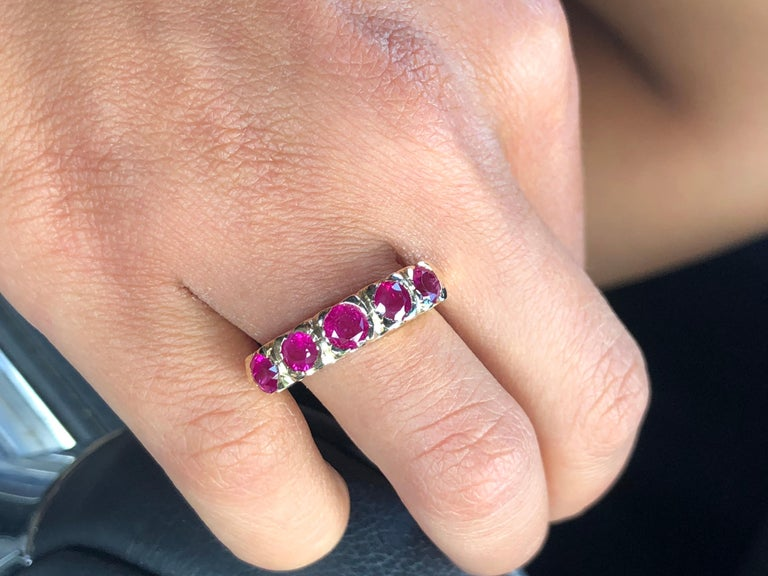 Knife Edge 1.90 Carat Ruby Fishtail Mounting Anniversary Five Stone Ring For Sale 6
