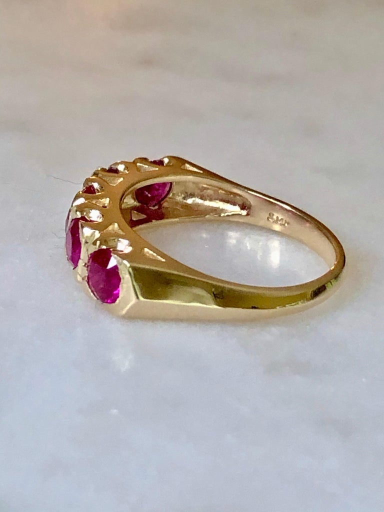 Edwardian Knife Edge 1.90 Carat Ruby Fishtail Mounting Anniversary Five Stone Ring For Sale