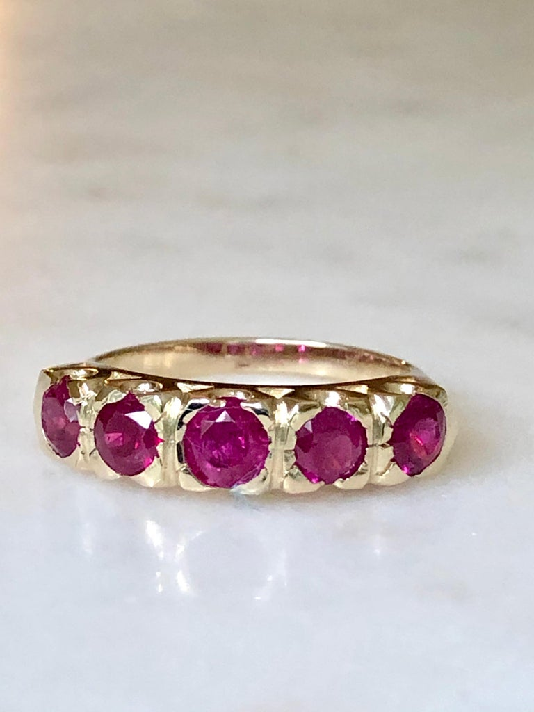 Knife Edge 1.90 Carat Ruby Fishtail Mounting Anniversary Five Stone Ring In Excellent Condition For Sale In Brunswick, ME