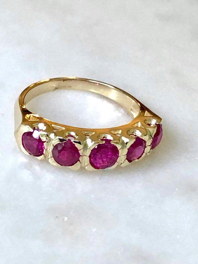 Knife Edge 1.90 Carat Ruby Fishtail Mounting Anniversary Five Stone Ring For Sale 1