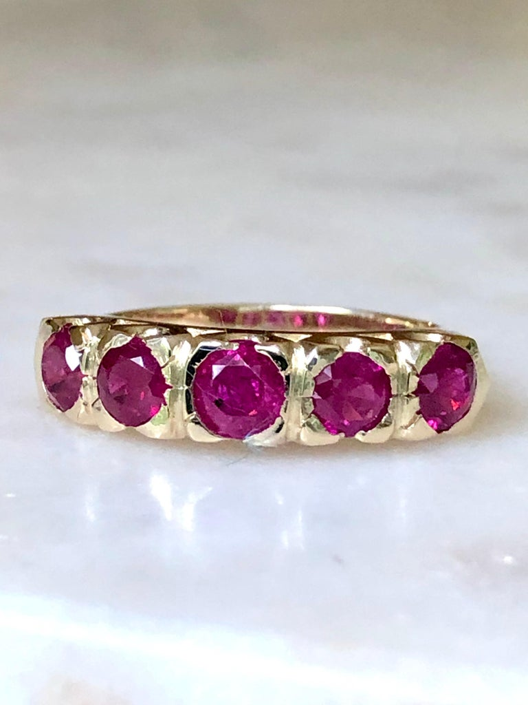 Knife Edge 1.90 Carat Ruby Fishtail Mounting Anniversary Five Stone Ring For Sale 3