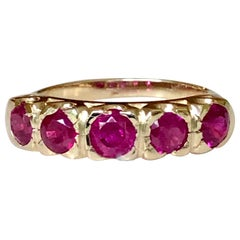 Knife Edge 1.90 Carat Ruby Fishtail Mounting Anniversary Ring 5-Stone