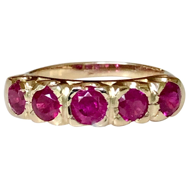 Knife Edge 1.90 Carat Ruby Fishtail Mounting Anniversary Five Stone Ring For Sale