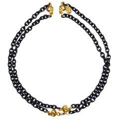 Knight & Hammer Gold Tone Skull and Black Matt Enamel Chain Necklace