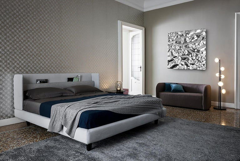 'KNIGHT' King-Size Bed in Light Grey with Functional Headboard 4