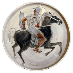 """Knight on Horse"" Tray, Rare Ceramic from Laguna Beach"
