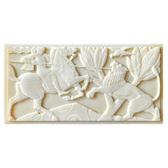 """""""Knight on Horseback with Lion,"""" Rare Art Deco Box w/ Relief Sculpture, England"""